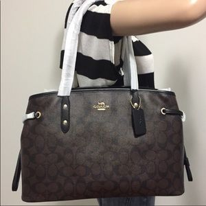 COACH large purse brown black NEW